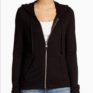 Splendid Full Zip Hoodie In Solid Black